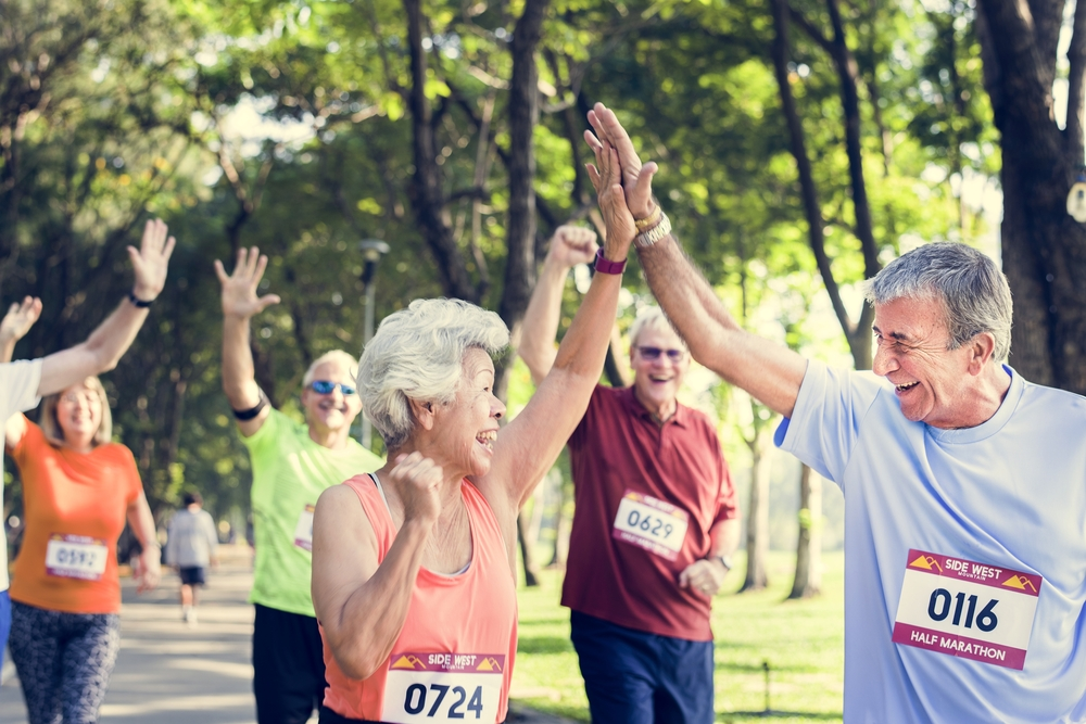 Happy senior citizens in a race